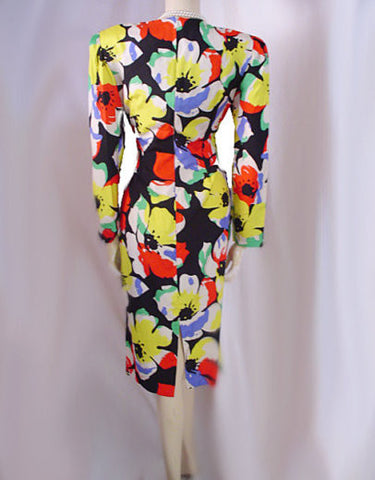 GORGEOUS VINTAGE BILL BLASS SPRING SUMMER SEXY RUCHED SILK DRESS