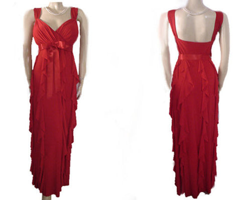 GORGEOUS VINTAGE '90s SCARLET BIAS-CUT RUFFLE RUCHED EVENING GOWN WITH SCARLET SATIN RIBBON BOW - EXTRA EXTRA LARGE & EXTRA LONG - PERFECT FOR CHRISTMAS PARTIES