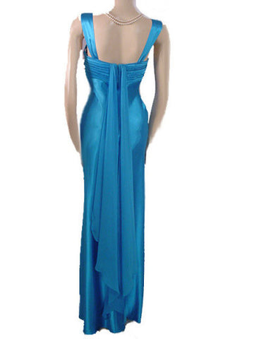 BETSY & ADAM GORGEOUS RHINESTONE RUCHED BODICE EVENING GOWN