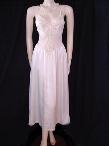 RARE STYLE VINTAGE SPANDEX LACE OLGA WITH  DOUBLE SPAGHETTI STRAPS & LACE TRIMMED SATIN SKIRT IN CREAMY ALMOND  - SIZE LARGE