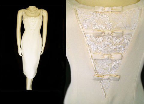 GORGEOUS VINTAGE 1980'S ESCADA COUTURE COLLECTION IVORY LACE & SILK SATIN IVORY DRESS - PERFECT FOR AN INFORMAL WEDDING