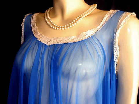 VINTAGE DEENA 19 FEET GRAND SWEEP NIGHTGOWN WITH HUGE LACE HEM IN MEDITERRANEAN BLUE - LARGE SIZE