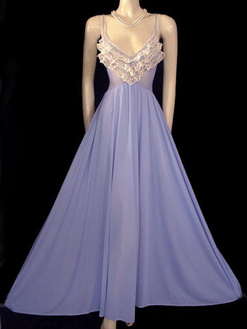 VERY RARE VINTAGE OLGA NEVER  BEFORE SEEN STYLE WITH RUFFLES SPANDEX LACE GOWN IN BLUE HEAVEN #1
