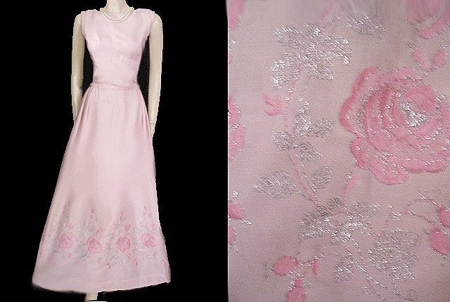 FABULOUS VINTAGE PINK DRESS EMBROIDERED WITH PINK & SILVER ROSES WITH METAL ZIPPER