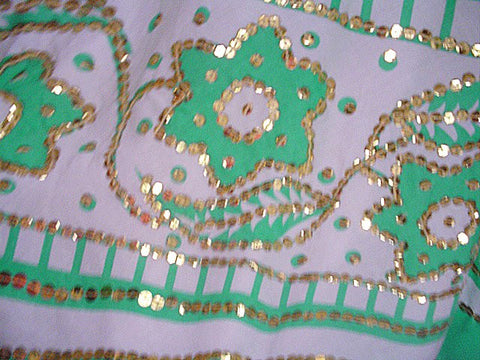 $300 MILLY OF NEW YORK JADE & WHITE FULL CIRCLE 14-1/2 FEET SKIRT ENCRUSTED WITH SPARKLING GOLD SEQUINS