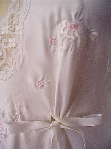 VINTAGE BARBIZON BRIDAL TROUSSEAU SATIN NIGHTGOWN STUDDED WITH PEARLS, EMBROIDERY & BOWS
