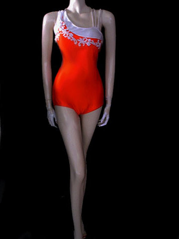 GLAMOROUS VINTAGE WATER GODDESS APPLIQUE SWIMSUIT WITH A FABULOUS BACK IN ORANGE CRUSH