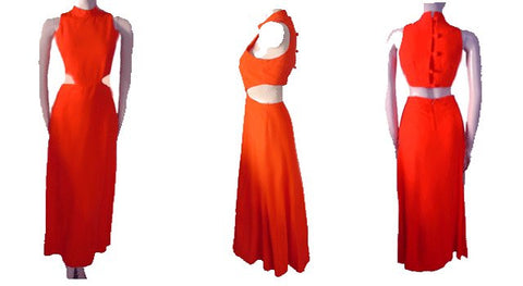 FABULOUS VINTAGE CYRS FROM CANADA CUT-OUT DRESS IN ORANGE CRUSH - SIZE 12
