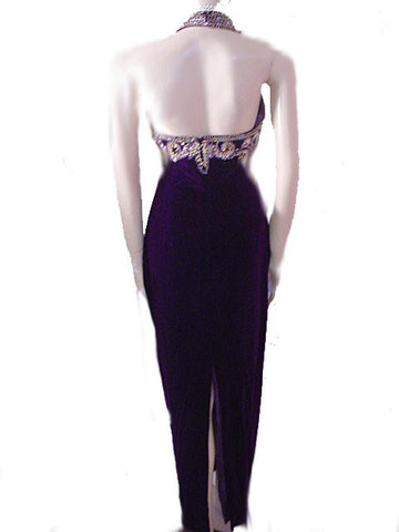 VINTAGE ALYCE DESIGNS PURPLE VELVET HALTER EVENING GOWN ENCRUSTED WITH GOLD BEADS, SEQUINS & SHOT