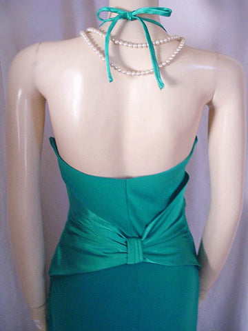 SCOTT McCLINTOCK & JESSICA McCLINTOCK HUGE SATIN INSET HALTER EVENING GOWN WITH A BEAUTIFUL BACK