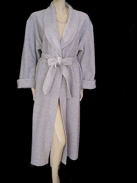 DIAMOND TEA FROM SAKS FIFTH AVENUE WRAP-STYLE COTTON ROBE IN GRAY FOG - SIZE MEDIUM