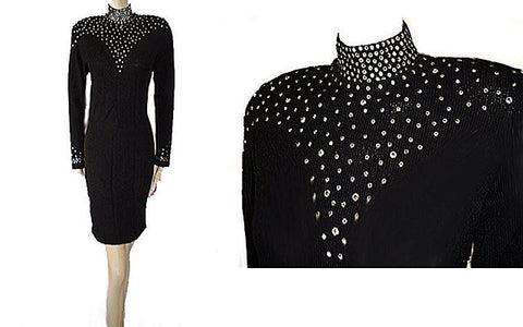VINTAGE '80s  LILLIE RUBIN SPARKLING RHINESTONE SANTANA KNIT EVENING DRESS