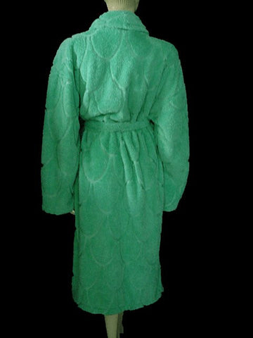 BEAUTIFUL FOREIGN DESIGNER SOFT PLUSH CHENILLE-LIKE WRAP-STYLE ROBE IN MING JADE - SIZE XL / EXTRA LARGE