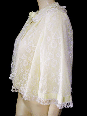 VINTAGE ODETTE BARSA LACE DOUBLE NYLON BED JACKET IN LEMONCELLO - ABSOLUTELY BEAUTIFUL!
