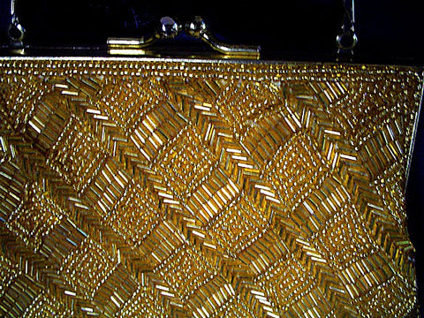 FROM MY OWN PERSONAL COLLECTION - VINTAGE LA REGALE GOLD CHEVRON BEADED & SHOT EVENING PURSE  HAND MADE IN HONG KONG