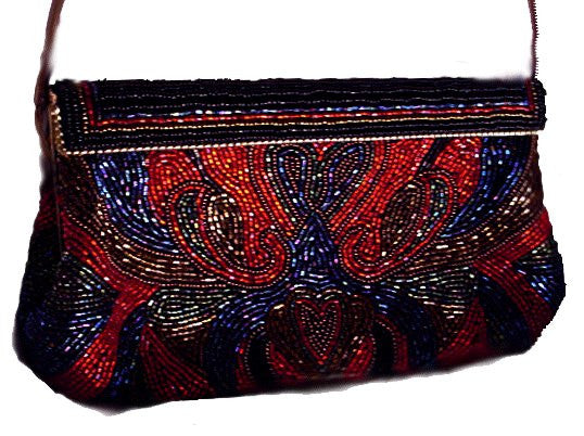 FROM MY OWN PERSONAL COLLECTION - ASPECTS SCARLET, BRONZE, BLACK, ROYAL & EMERALD BEADED EVENING BAG
