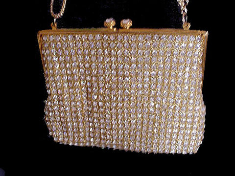 FROM MY OWN PERSONAL COLLECTION - BEAUTIFUL SPARKLING VINTAGE RHINESTONE & GOLD EVENING BAG WITH A HUGE RHINESTONE CLASP - HAND MADE IN HONG KONG