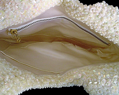 FROM MY OWN PERSONAL COLLECTION - GORGEOUS VINTAGE WALBORG  SPARKLING SEQUIN & HAND BEADED EVENING BAG MADE IN HONG KONG