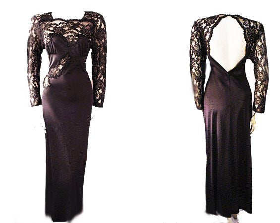 GORGEOUS SOPHISTICATED VINTAGE HENSON KICKERNIK BLACK LACE APPLIQUE NIGHTGOWN