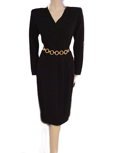 "VINTAGE ST. JOHN BY MARIE GRAY SANTANA KNIT ""THE LITTLE BLACK DRESS"" IN BLACK SWAN"