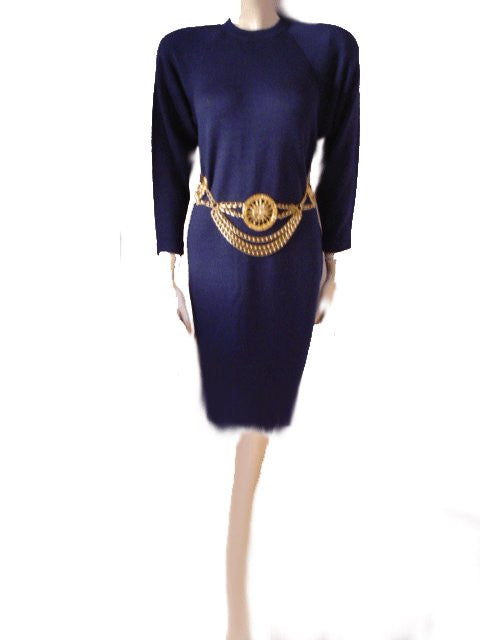 BEAUTIFUL VINTAGE T. JOHN SANTANA KNIT DRESS IN NIGHTFALL
