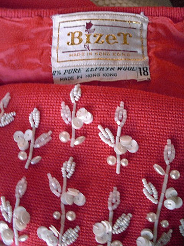 VINTAGE BEZET 3-PC BEADED, SEQUIN & PEARL KNIT SUIT MADE IN HONG KONG IN CORAL