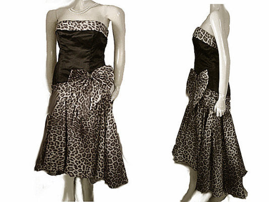 VINTAGE SAN-MARTIN BLACK SATIN & LEOPARD TAFFETA EVENING GOWN WITH RHINESTONE BOW & ATTACHED CRINOLINE