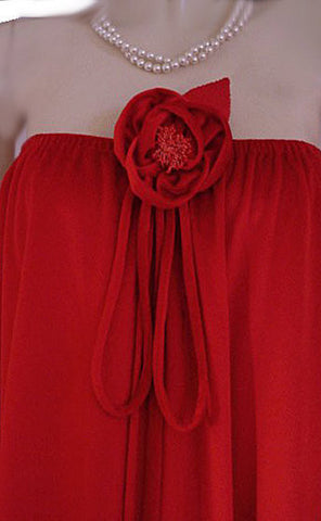 GORGEOUS VINTAGE LUCIE ANN - BEVERLY HILLS STRAPLESS VELVETY VELOUR LOUNGER / DRESSING GOWN WITH HUGE FLOWER ACCENT IN SCARLET KISS