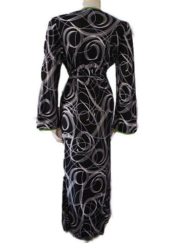 NEW - DIAMOND TEA SPRING & SUMMER SPANDEX WRAP-STYLE ROBE IN BLACK & WHITE SWIRL DESIGN WITH LUCITE GREEN TRIM