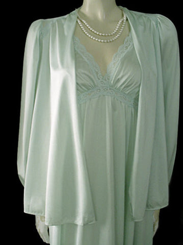 VINTAGE RARE OLGA SPANDEX LACE PEIGNOIR BED JACKET & NIGHTGOWN SET IN TIDEWATER