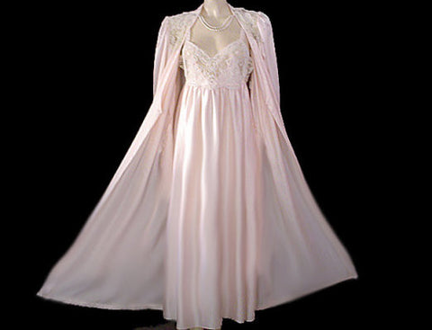 VINTAGE DONNA RICHARD SATIN PEIGNOIR & NIGHTGOWN SET ADORNED WITH SOUTACHE LACE IN SUGAR BLOSSOM