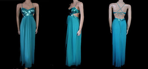 FROM MY OWN PERSONAL COLLECTION - FABULOUS GOLD CHAIN HALTER SPANDEX BIAS-CUT EVENING GOWN IN MERMAID - SIZE 14