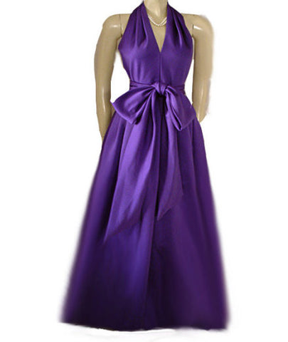 GORGEOUS VINTAGE A.J. BARI PEAU DE SOIE EVENING GOWN ADORNED WITH A HUGE 10 FOOT SASH & BOW IN AMETHYST