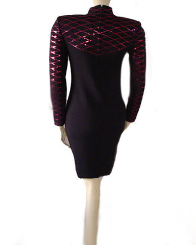 GORGEOUS '90s ST. JOHN EVENINGS BY MARIE GRAY SANTANA KNIT ADORNED WITH STRIPS OF SPARKLING PAILETTES KNIT EVENING DRESS