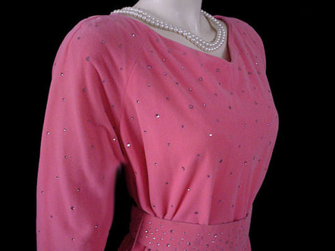 "FROM MY OWN PERSONAL VINTAGE COLLECTION - VINTAGE '50s ""PERFECT NEGLIGEE"" / DRESSING GOWN WITH METAL ZIPPER & ABLAZE WITH PRONG-SET SPARKLING PINK RHINESTONES"