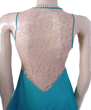 VINTAGE GLYDONS OF HOLLYWOOD NIGHTGOWN WITH EXQUISITE SHEER ECRU LACE BACK