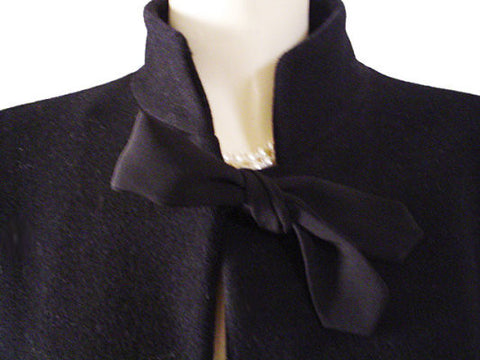 GORGEOUS GIORGIO ARMANI BLACK WOOL & CASHMERE FULL BIAS SWING COAT ADORNED WITH BOWS