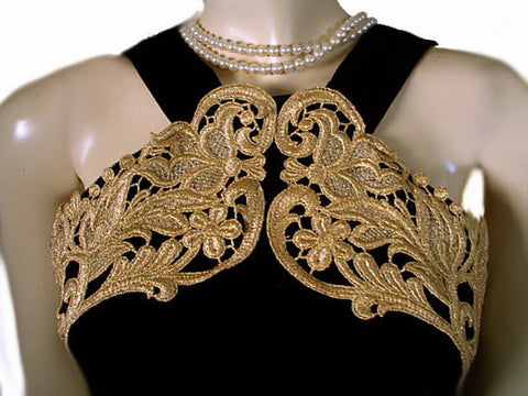VINTAGE '80s SCOTT McCLINTOCK SPARKLING GOLD METALLIC LACE HALTER-LOOK BLACK VELVET EVENING GOWN