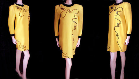 VINTAGE ILDI MARSHALL MOD SPACE AGE WOOL CREPE DRESS ACCENTED WITH BLACK VELVET MOD DESIGN SWIRLS