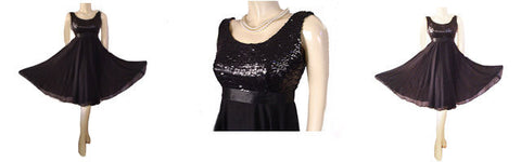 "VINTAGE ""A MISS JANE ORIGINAL"" SEQUIN GRAND SWEEP CHIFFON PARTY DRESS WITH METAL ZIPPER"