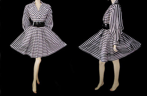 VINTAGE EN FRANCAIS BLACK & WHITE STRIPE TAFFETA PARTY DRESS WITH SPARKLING RHINESTONE BUTTONS