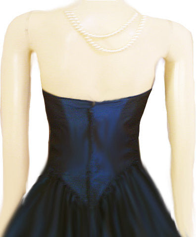 VINTAGE SWEETHEART NECKLINE STRAPLESS TAFFETA PARTY DRESS IN PEACOCK