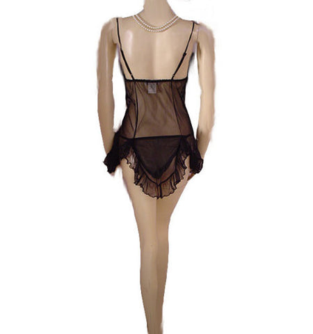 GLAMOROUS SEDUCTIVE WEAR BY CINEMA ETOIL 3-PIECE LACE & SHEER NYLON BABY DOLL SHORTY SET