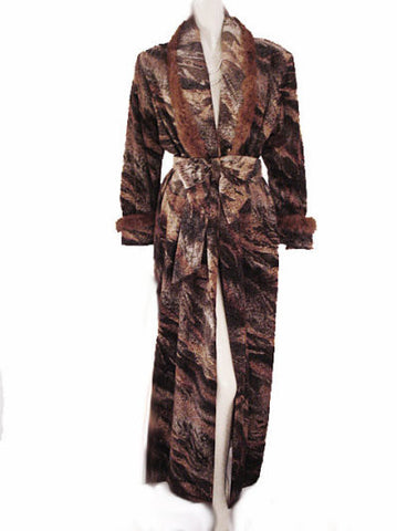 RARE & UNIQUE  LUXURIOUS PRE-OWNED DIAMOND TEA ROBE SATIN LINED DRESSING GOWN ADORNED WITH  LUXURIOUS FUR TRIM - SIZE SMALL / MEDIUM