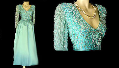 VINTAGE LILLIE RUBIN VICTORIA ROYAL AQUA BEADED SILVER SHOT EVENING GOWN FROM HONG KONG