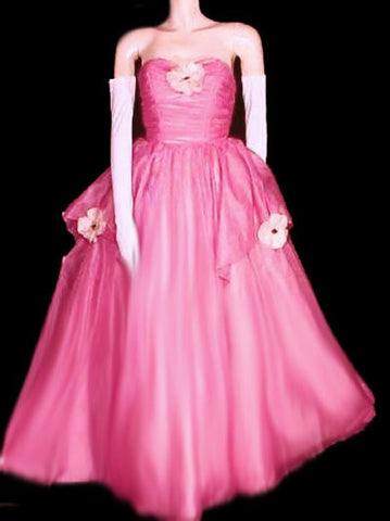 VINTAGE MIKE BENET SOUTHERN BELLE ORGANZA STRAPLESS PROM DRESS EVENING GOWN WITH ATTACHED CRINOLINE ADORNED WITH MAGNOLIAS