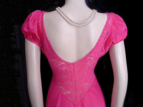 VERY RARE VINTAGE OLGA NEVER BEFORE SEEN STYLE SPANDEX ALL LACE BODICE NIGHTGOWN WITH PUFFY BABY DOLL SLEEVES IN WILD CHERRY
