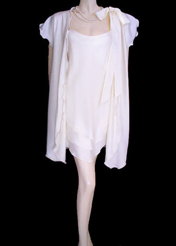 RARE VINTAGE GEORGETTE TRABOLIS BRIDAL TROUSSEAU BIAS NIGHTGOWN & PEIGNOIR SET IN  MOONBEAM