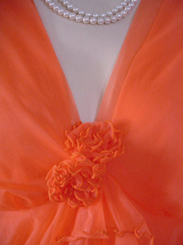 VINTAGE DOUBLE NYLON PEIGNOIR & NIGHTGOWN 19 FEET GRAND SWEEP SET ADORNED WITH FABRIC ROSES IN RARE SHADE OF TANGERINE