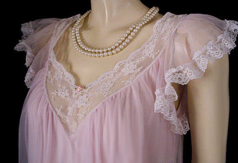 VINTAGE TOSCA DOUBLE NYLON LACE-TRIMMED RUFFLE & FLOUNCE NIGHTGOWN IN PRINCESS PINK
